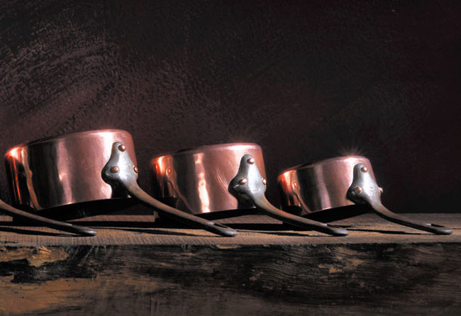 Antique copper pans lined